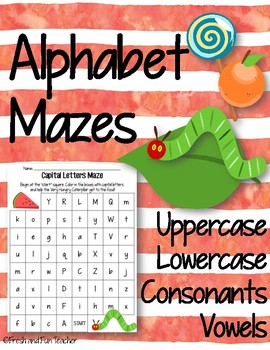 Alphabet Mazes (Uppercase, Lowercase, Consonants, Vowels)