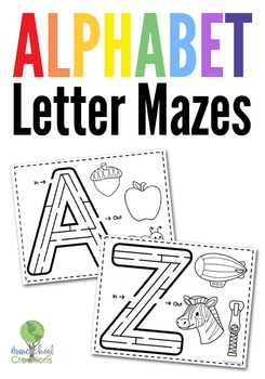 Alphabet Mazes and Beginning Sounds Coloring