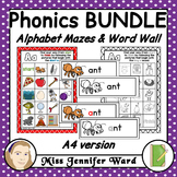 Alphabet Mazes and Matching Word Wall A4 MEGA BUNDLE