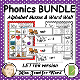 Alphabet Mazes and Matching Word Wall LETTER MEGA BUNDLE