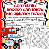 Community Helpers Alphabet Mazes for Recognition Stamping and Tracing