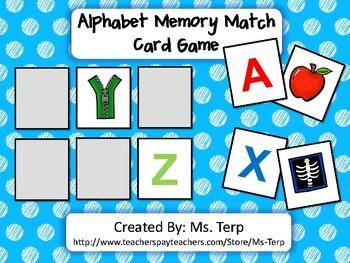 Alphabet Memory Match Card Game