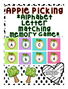 Alphabet Memory Match Center Game - FREEBIE!