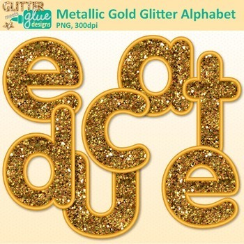Metallic Gold Glitter Alphabet Clip Art | Great Christmas Classroom Decor