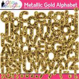 Metallic Gold Glitter Alphabet Clip Art {Great Christmas C
