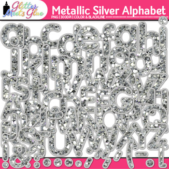 Metallic Silver Alphabet Clip Art {Great Christmas Classroom Decor & Resource}