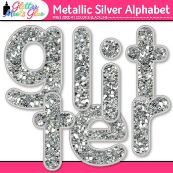 Metallic Silver Alphabet Clip Art | Great Christmas Classroom Decor & Resource