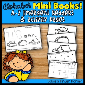 Alphabet Mini Books! Emergent Reader + Activity Pages