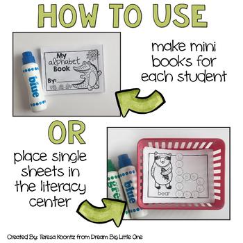 Alphabet Mini Books With Dot Markers (Bingo Daubers) BUNDLE (prek & kinders)