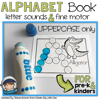 Alphabet Mini Books With Dot Markers (Bingo Daubers) UPPERCASE (pre-k & kinders)