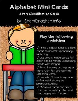 Alphabet Mini Flash Cards - Set 1 | B&W