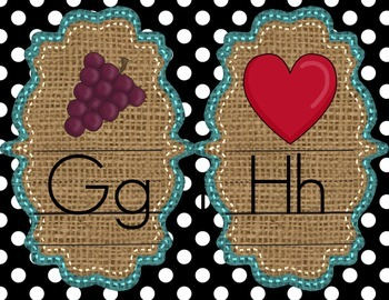 Alphabet Mini Posters -Turquoise, Burlap, and  Black and White Polka Dots