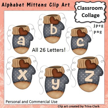 Alphabet Mittens Clip Art pers/comm use T Clark
