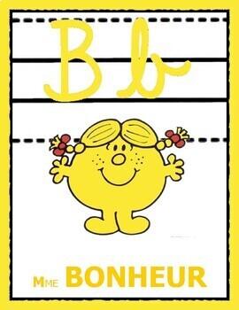 Alphabet Monsieur Madame pour la classe - Lettres cursives