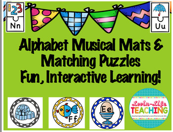 Alphabet Musical Mats and Matching Puzzles- Fun, Interactive Learning