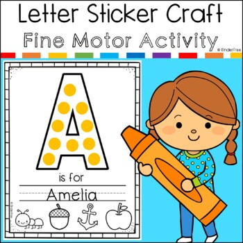 Alphabet Name Sticker Craft First Week of Kindergarten