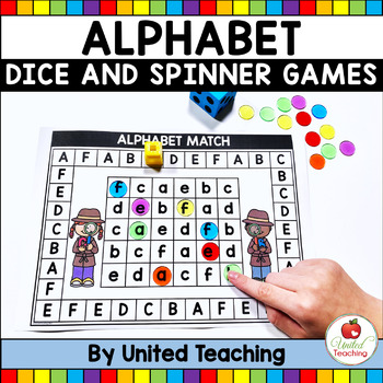 Alphabet No Prep & Color Dice Board Games