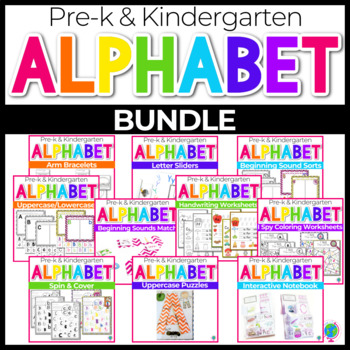 Alphabet No-Prep Printables plus centers: BUNDLE