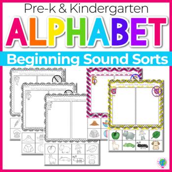 Alphabet No-Prep Printables plus centers: Beginning Sound Sorts