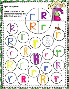 Alphabet No-Prep Printables plus centers for Letter Recognition: Spin & Cover