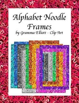 Frames Clip Art - Bright Colors and BW - Alphabet Noodle Design