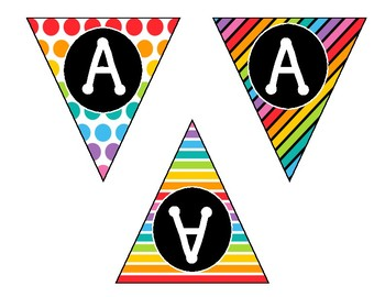 Alphabet & Number Bunting Banner - Classroom Decor - Small Bright Rainbow
