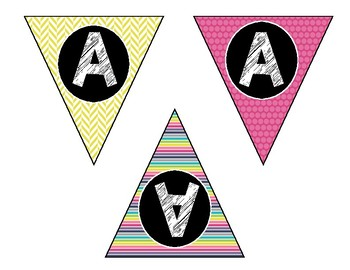 Alphabet & Number Bunting Banner - Classroom Decor - Small Soft & Sweet