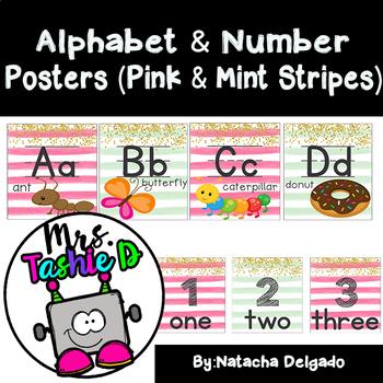Alphabet & Number Posters Bundle (mint & pink)