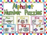 Alphabet Number Puzzles- Preschool or Kindergarten