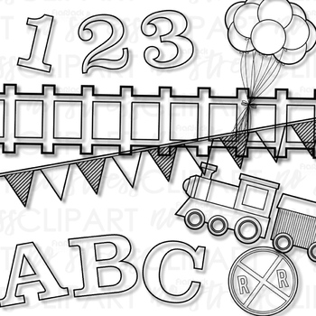 Alphabet Number Train Blue Set (Digital Use Ok!)