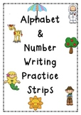 Alphabet & Number Writing Practice Strips