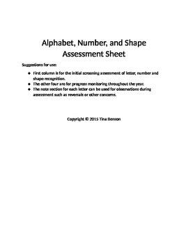 Alphabet, Number, and Shape Assessment Sheet