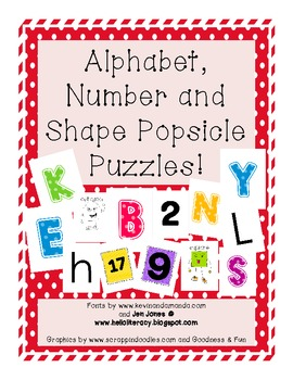 Alphabet, Number and Shape Popsicle Stick Puzzles