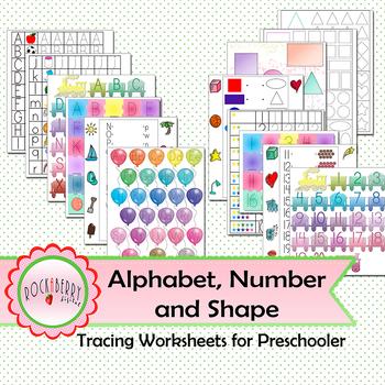 Alphabet, Number and Shape Tracing Worksheet