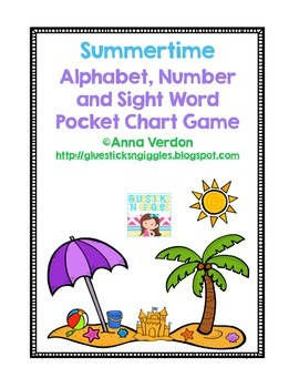 Alphabet, Number and Sight Word Pocket Chart Game (Beach/S