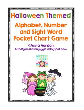 Alphabet, Number and Sight Word Pocket Chart Game (Halloween Theme)