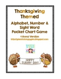 Alphabet, Number and Sight Word Pocket Chart Game (Thanksgiving/Turkey Theme)