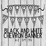 Alphabet & Numbers Black and White Chevron Banner