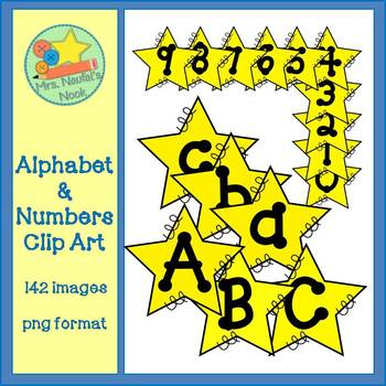 Alphabet and Numbers Clip Art - Star Theme