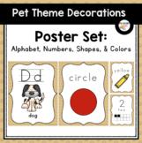 Alphabet, Numbers, Colors & Shapes Poster Bundle (Pet-Themed Classroom Decor)