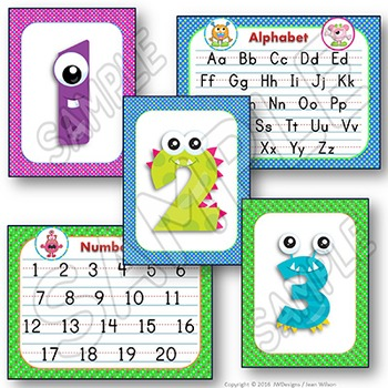 Alphabet & Numbers Posters - Monsters Theme