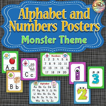 Alphabet Posters & Numbers Posters MONSTERS Themed Reference and Wall Display