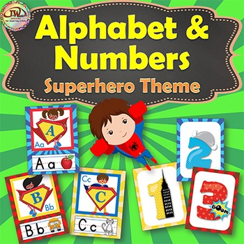 Alphabet Numbers Posters SUPERHERO Themed