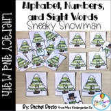 Alphabet, Numbers, Sight word Sneaky Snowman Game Bundle