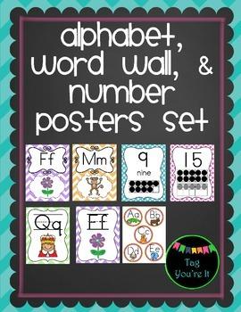 Alphabet, Numbers, & Word Wall Posters in Purple, Green, Orange, Blue & Pink