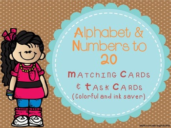 Alphabet & Numbers to 20:  Matching Cards and Task Cards