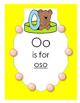 """Alphabet """"O is for oso"""" Spanish hat patterns (5 versions)"""