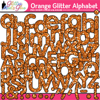 Orange Glitter Alphabet Clip Art {Great for Classroom Decor & Resources}
