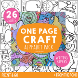 Alphabet One Page Craft Pack {Print & Go Crafts + Writing Papers}