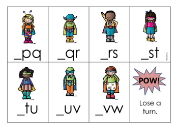 Super Hero Alphabet Order Game {Missing Letter: First Letter}
